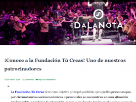 DaLaNota publica un reportaje sobre Fundación Tú Creas